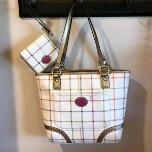 Coach plaid tote and matching wristlet!!